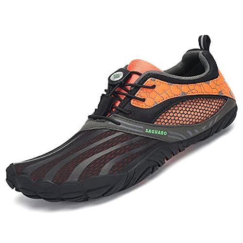 SAGUARO Zapatillas de senderismo para hombre y mujer, minimalistas, para deportes acuáticos al aire libre, tallas 36-48, color Naranja, talla 40 EU