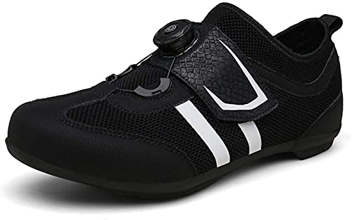 WYUKN Calzado de Ciclismo para Hombre,Zapatillas de Ciclismo Sin Bloqueo para Hombre Zapatillas Sin Bloqueo de Bicicleta Zapatillas de Carretera Informales,Black-46EU