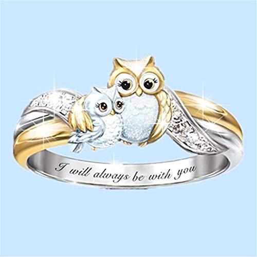 Anillo de búho de moda para mujer, boda, compromiso, fiesta, tamaño 5 – 10, anillos de compromiso para mujer, joyería de San Valentín, regalo