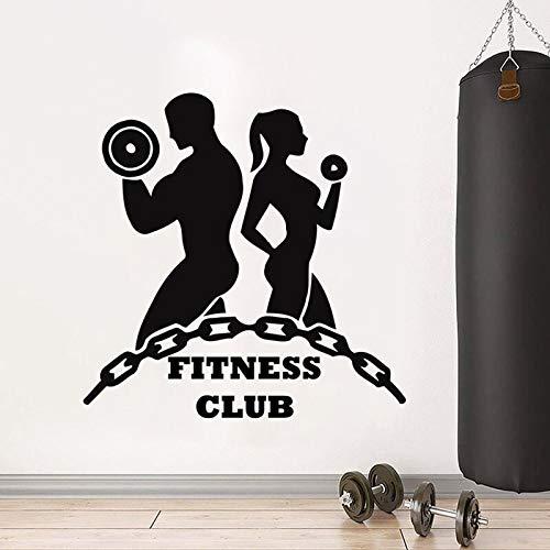 Logotipo del club de fitness calcomanías de pared niños niñas entrenamiento deportivo gimnasio arte interior puerta ventanas vinilo pegatinas papel tapiz