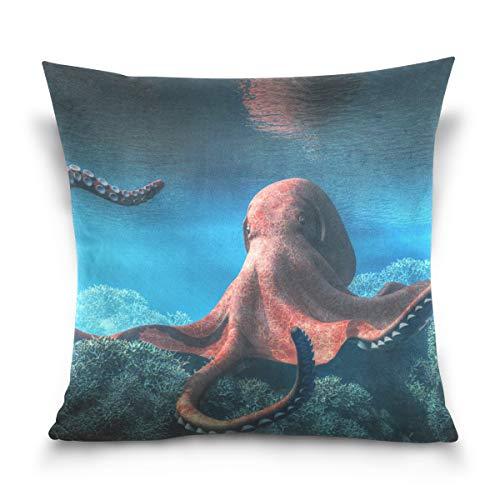 Chic Houses Octopus Antena Octopus 2030134 Funda de almohada con cremallera cuadrada para sofá cama