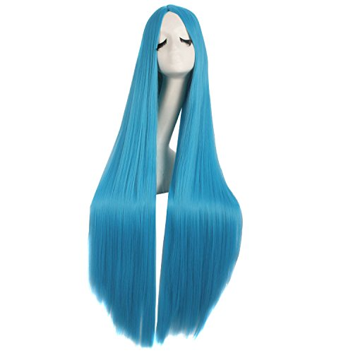 MapofBeauty 40 Zoll/100cm Schnitzen Lange Lockige Cosplay Anime Kostüm Party Perücke (Cyan Blau)