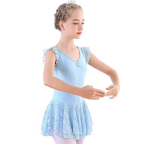Soudittur Maillot de Ballet Niña Vestido de Danza Baile Tutú Leotardo Algodón Gimnasia Clásico Sin Mangas con Faldas de Encaje en Rosa, Negro, Morado, Azul (4-13 Años)