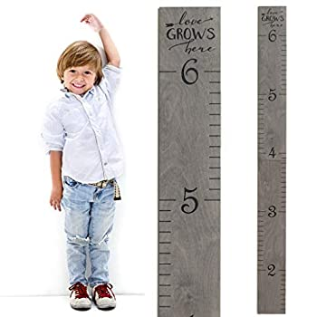 Wooden Ruler Growth Charts Ruler for Boys and Girls   Weathered Gray   Love Grows Here  LGH Skinny Weathered Gray