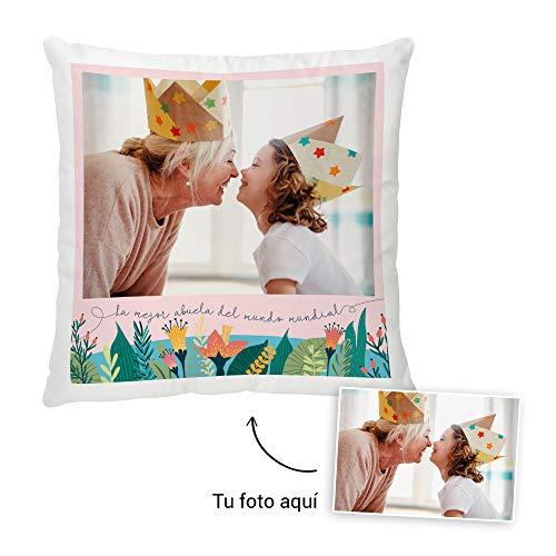 Fotoprix Cojín Personalizado con Foto para Abuelo o Abuela | Regalo Original día del Abuelo | Varios diseños Disponibles (Abuela, 45 x 45 cms)