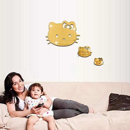 Hello Kitty pegatinas equipos de protección ambiental decorativos etiqueta dimensiones del gatito de dibujos animados espejo de diseño infantil para eliminar,oro