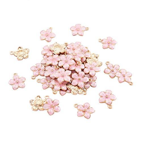 PandaHall 100 Stück Emaille-Anhänger mit pinker Blume, 16,5 x 14,5 x 2,5 - 3 mm, vergoldetes Metall, Emaille, Anhänger für DIY-Schmuckherstellung