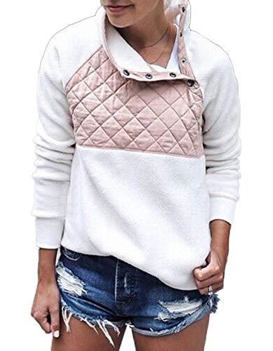 HX fashion Sweatshirt Vrouwen Elegante Mode Tops Comfortabele Maten Herfst Knopen Coltrui Lange Mouw Onregelmatige Splits Casual Tops Sport Shirt Comfortabele Moderne Stijl Top