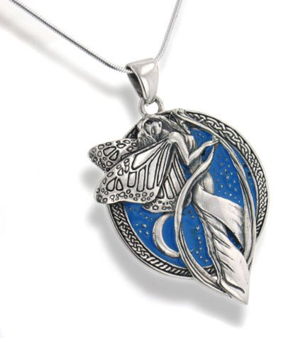 Sterling Silver Sky Blue Moonlight Fairy Celtic Art Pendant 18' Snake Necklace