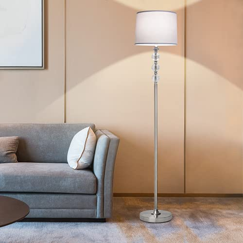Modern Floor Lamp with Dimmer, Boncoo LED Floor Lamp Fully Dimmable Tall Pole Lamp with Grey Shade Foot Switch Crystal Reading Standing Light for Living Room Bedroom Office, 8W 4000K Bulb Included