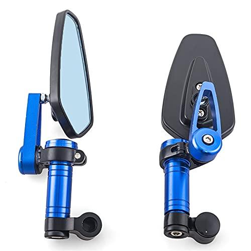 PARA HONDA YAMAHA SUZUKI SCOOTER UNIVERSAL CNC Aluminio Motorario Motorario Vista Trasera Espejos Azul Anti-Glame Espejo Convexo Compatible Espejo De Motocicleta (Color : Azul)