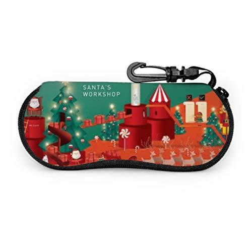 DAIDYA Brillenetui, Santas Workshop Weihnachtsgrüße Vorlage Sonnenbrille Weichetui Ultraleichtes Neopren-Reißverschluss-Brillenetui mit Karabinerhaken, großes Brillenetui