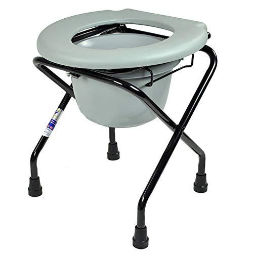FJLOVE Fahrbarer Toilettenstuhl Nachtstuhl Toilettenhilfen Klappbarer Kommodenstuhl Tragbarer Duschstuhl für Camping Medical Toilettensitz mit Kommodeimer für Senioren
