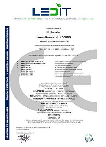 SANIFICATORE OZONO – CERTIFICATO CNR + CERTIFICATO CE GENERATORE PROGETTATO IN ITALIA, 10000MG/hr CON TIMER 120 MIN USO PROFESSIONALE E COMMERCIALE, MANUALE ISTRUZIONI IN ITALIANO ILLUSTRATO INCLUSO