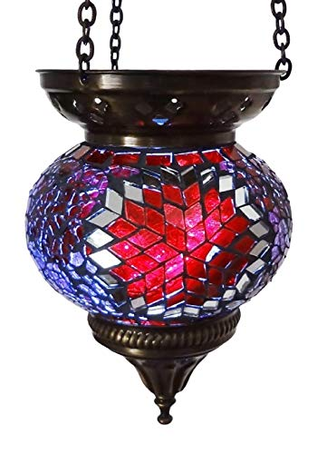 Wghz Moroccan Turkish Mosaic Hanging Lamp Hanging Candle Holder Hanging Candle Holder Table Desk Lamp Lamps Bronze Effect Handmade Unique Crushed Glass Tiffany Style Turkish Moroccan Lamp Red Mix