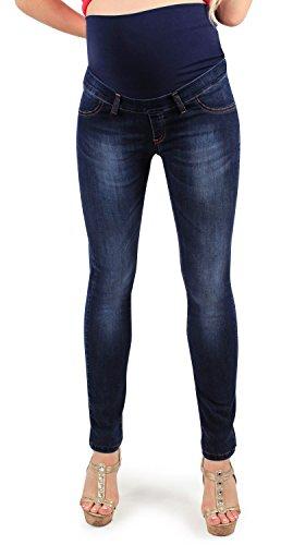 MAMAJEANS Jeggings Premaman, Modello Skinny, Super Elasticizzato, Jeans Riutilizzabile Dopo Il Parto - Made in Italy (46 IT, Scuro)