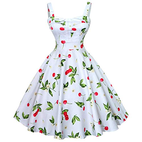 My Favorite Dresses Dress Summer Women Floral Cap Sleeve Belt Robe Rockabilly Party Dresses,3X,Wq1032-009,