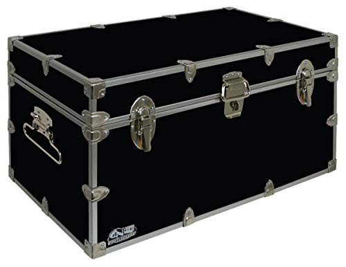 C&N Footlockers UnderGrad Storage Trunk - College Dorm Chest - Durable with Lid Stay - 32 x 18 x 16.5 Inches (Black)