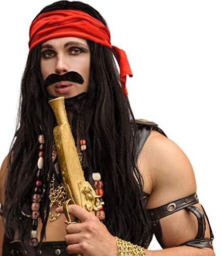 Hatstar Piraten Piratin Perücke Seeräuber mit Bandana und Perlen Karneval und Fasching (Pirat Dunkel Braun / Kopftuch Rot)