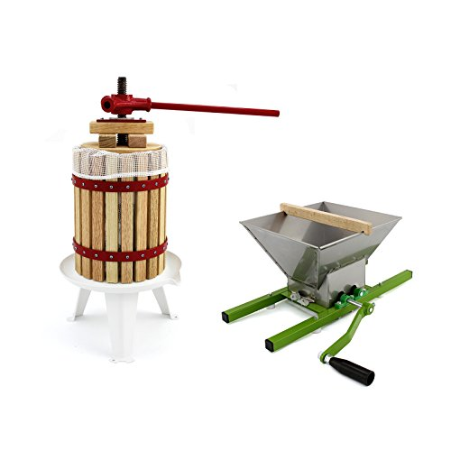 KUKOO Prensa 18 litros y Trituradora de Frutas 7 LitrosPara Hacer Zumo, Sidra y Vino