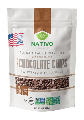 NATIVO DARK MINI CHOCOLATE CHIPS SWEETENED WITH ALLULOSE - MADE IN THE USA - SUGAR FREE- 3g Net Carbs - CERTIFIED KETO - GLUTEN FREE - DAIRY FREE - KOSHER - NO SUGAR ALCOHOL - PROJECT VERIFIED NON GMO