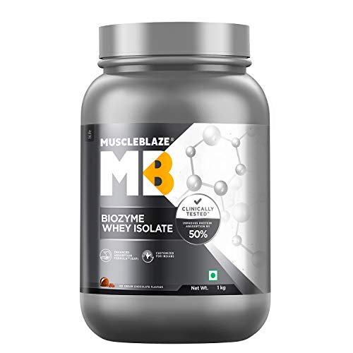 MuscleBlaze Biozyme Whey Protein Isolate (Ice Cream Chocolate, 1 kg / 2.2 lb, 30 Servings)