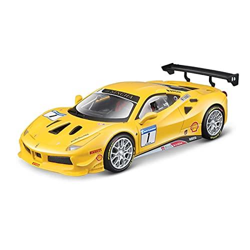 MAQINA per Ferrari 1:43 in Lega Auto Lusso Pressofusione Tirare Indietro Modello Corsa Giocattolo Regalo Collezione Bambini Adulti (Colore : Yellow)