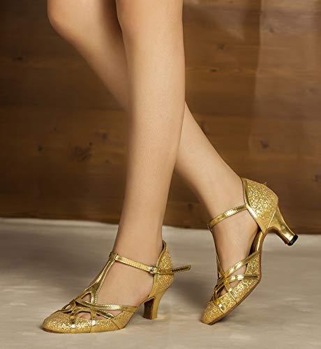 Minitoo qj6133Damen Geschlossen Zehen High Heel PU Leder Glitzer Salsa Tango Ballsaal Latin t-strap Dance Schuhe, Gold Gold-6cm Heel ,42 EU/8 UK - 5
