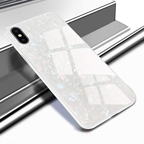 Caler Carcasa Compatible con Huawei P10 Funda 9H Vidrio de mármol endurecido Parte Trasera con Marco de TPU Funda Protectora Ultrafina Funda para teléfono móvil Marco [antigolpes] Slim Shell Case