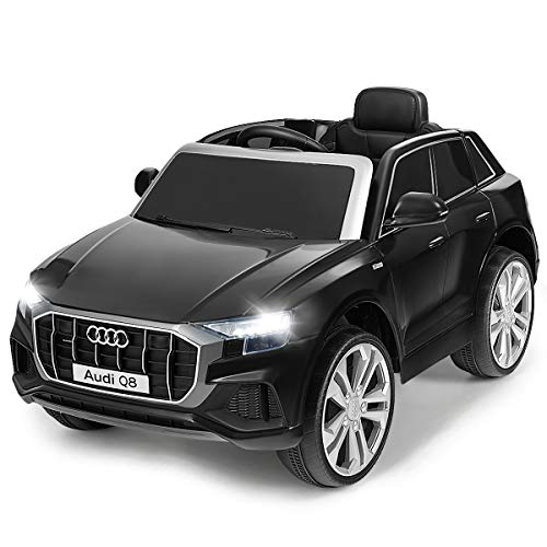 Costzon Ride on Car, Licensed Audi Q8, 12V Battery Powered Electric Vehicle w/2 Motors, 2.4G Remote Control, LED Lights, MP3, Horn, Music, Spring Suspension, Kids Ride on Toys for Boys & Girls (Black)