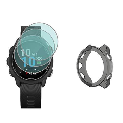 Protetor de tela para relógio (3+1 unidade) compatível com Garmin Forerunner 245/245 música, filme de vidro temperado antiarranhões de alta definição cobertura total e capa protetora de TPU macia