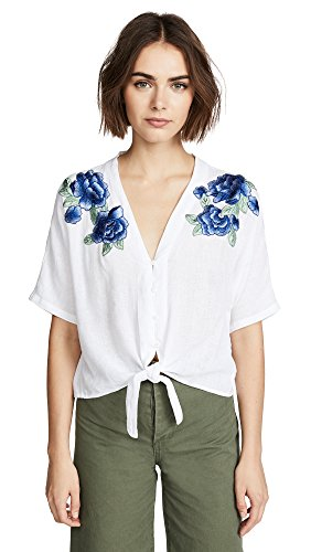 Rails Damen Thea Hemd, Blue Rose Embroidery, Mittel