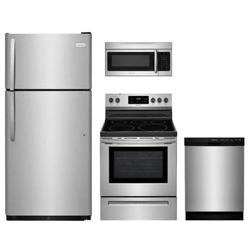 Frigidaire Frigidaire 4-Piece Stainless Steel Kitchen Package with FFTR1821TS 30' Top Freezer Refrigerator, FFEF3054TS 30' Electric Range, FFBD2412SS 24' Full Console Dishwasher and FFMV164LS