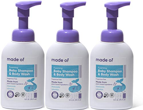 Organic Baby Wash and Shampoo Foaming by MADE OF - For Sensitive Skin and Baby Eczema Wash - NSF Organic and EWG - Made in USA - 10oz (Fragrance Free, 3-Pack)