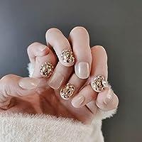 24 ピース/箱猫の目光線療法ネイルパッチウェアラブル偽ネイルショート偽ネイル結婚式冬秋ウェアラブルフルカバー style24