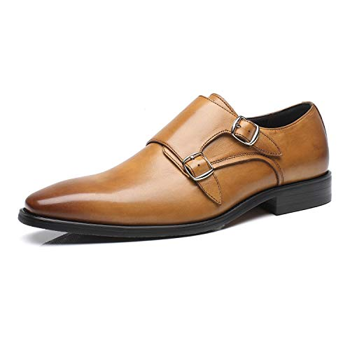 La Milano Mens Double Monk Strap Slip-on Loafer Oxford Formal Business Casual Dress Shoes for Men, Charles-1-cognac, 11