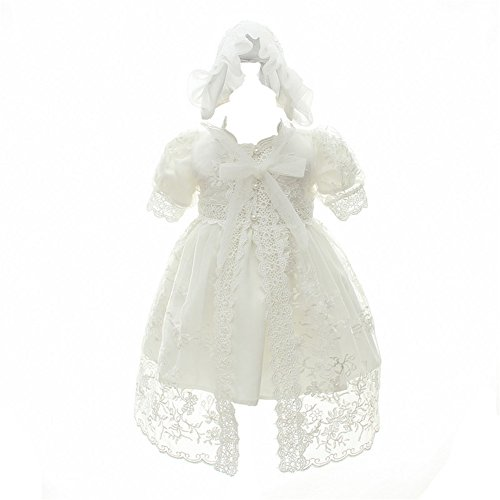 Coozy Baby Girl Christening Baptism Gowns Toddler Princess Wedding Special Occasion Dress 3Pcs Outfits (Ivory, 6M/6-12months)