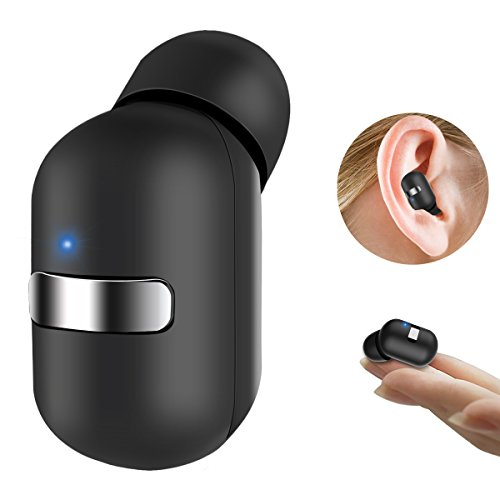 Stoon Bluetooth Headphones Mini Invisible Wireless Earbud with Mic Smallest Car Headset [Magnetic USB Charger] Lightweight Single In Ear Earphone with Customizable Eartips S/M/L(One Piece)