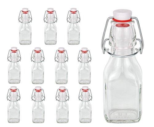 Bormioli 12 Glasflaschen 125ml mit Bügelverschluss - Serie Swing 0,125L zum Selbstbefüllen
