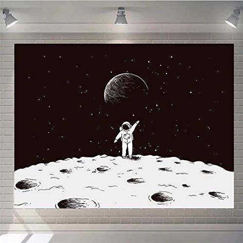 Dormitorio nórdico, tela para colgar, sofá de ocio, tela de fondo, universo, negro, luna estrellada, tapiz, tela decorativa-150x100cm