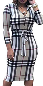 Women V Neck Business Suit Sexy Long Sleeve Grid Stretchable Slim Fit Bodycon Casual Pencil Dress Zipper Belt by