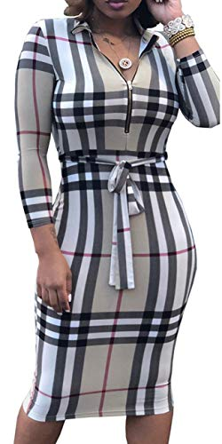 Women Sexy Dress Casual V-Neck Long Sleeve Stretchable Belt Bodycon Pencil Business Suiting Slim Fit Zipper (Large, Grid)