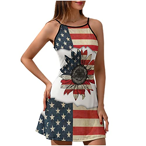 Vestido corto de verano con la bandera de los Estados Unidos para mujer, Blanco, XL
