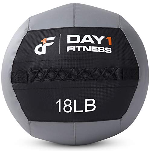 Day 1 Fitness Soft Wall Medicine Ball 18 Pounds - for Exercise, Rehab, Core Strength, Large Durable Balls for TRX, Floor Exercises, Stretching