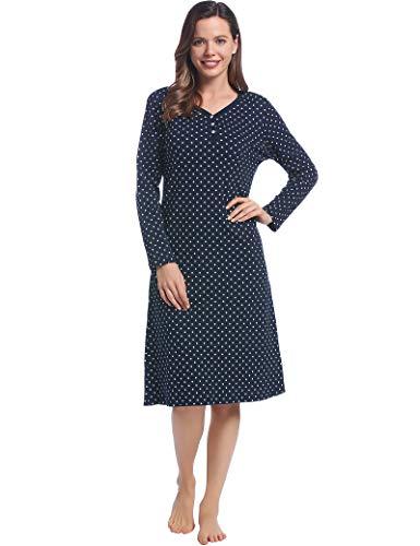 Joyaria - Camisón de algodón para mujer, Lunares azul marino, XXL