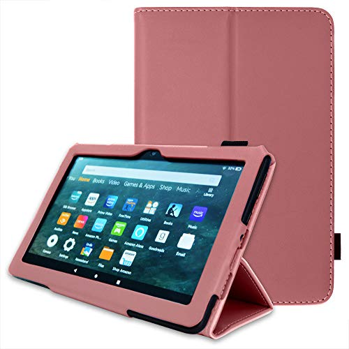 TECHGEAR Smart Case Designed For All New Amazon Fire HD 8' / HD 8' Plus (2020 / 10th Generation) Slim PU Leather Folio Smart Stand Case Cover with Hand Strap with Auto Wake/Sleep [Plum]