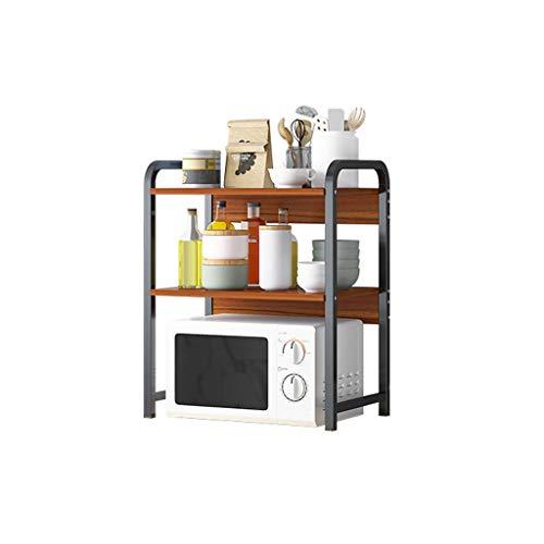 Estantería de Cocina Microondas horno de carro (doble capa) de gran capacidad de cocina microondas horno de carro estante horno de carro Combinado con bastidor de acero Hoja Carrito Cocina