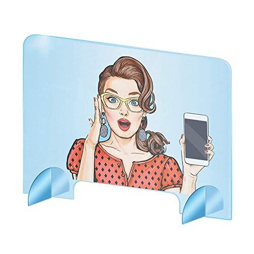 Further - Protector de cristal de protección de plexiglás con patas, protección contra la tostada Barrera de seguridad para tiendas de restaurante y prevención de estornudos, 400 x 400 x 4 mm, 1 PCS