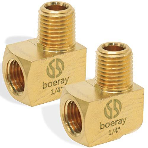 "Boeray 2pcs Brass Fitting, 90 Degree Barstock Street Elbow, 1/4"" NPT Male Pipe to 1/4"" NPT Female Pipe"