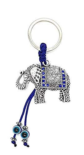 Bravo Team Lucky Blue Evil Eye Keychain Ring for Protection and Blessing, Elephant Charm for Strength and Power, Great Gift (Elephant)